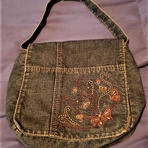 Vintage Denim handbag small- BOHO-1970s- embroider